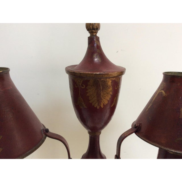 Antique French Red Tole Twin Shaded Table Lamp - Image 4 of 9
