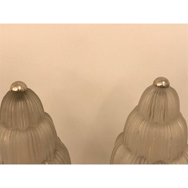 """French Art Deco """"Waterfall"""" Table Lamp Signed by Sabino For Sale - Image 11 of 13"""