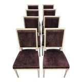 Image of 1910s Antique French Velvet Louis XVI Dining Chairs-Set of 8 For Sale