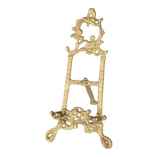 Antique Ornate Filigree Brass Easel Picture Frame or Decorative Plate Stand For Sale