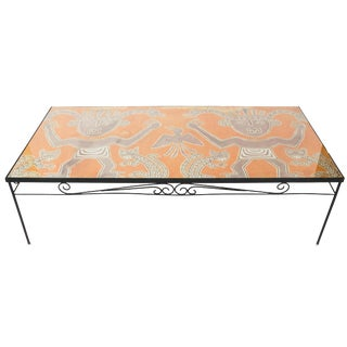 1960s Peruvian Pre-Colombian Textile Wrought Iron Coffee Table For Sale