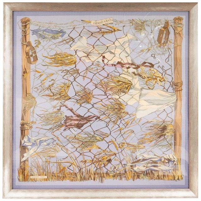 """1960s """"Grand Vent"""" Framed Hermes Scarf For Sale"""