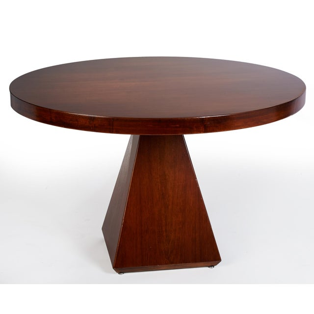 Italian 1960s Vintage Vittorio Introini for Saporiti Italian Geometric Walnut Dining Table For Sale - Image 3 of 6