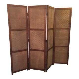 Mid-Century Modern 4-Panel Heavy Room Divider Screen Tongue and Groove Construction!