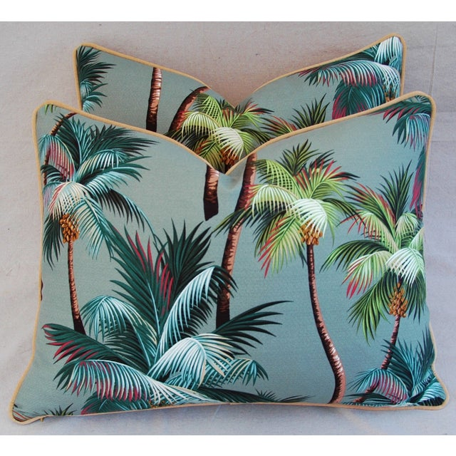 Pair of custom-made pillows in a vintage ultra-soft 100% cotton barkcloth crepe fabric depicting swaying tropical palm...