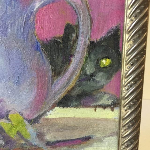 Original Flower & Cat Still Life Oil Painting by Marina Movshina For Sale - Image 4 of 7