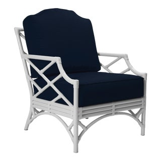 Chippendale Outdoor Lounge Chair - White For Sale