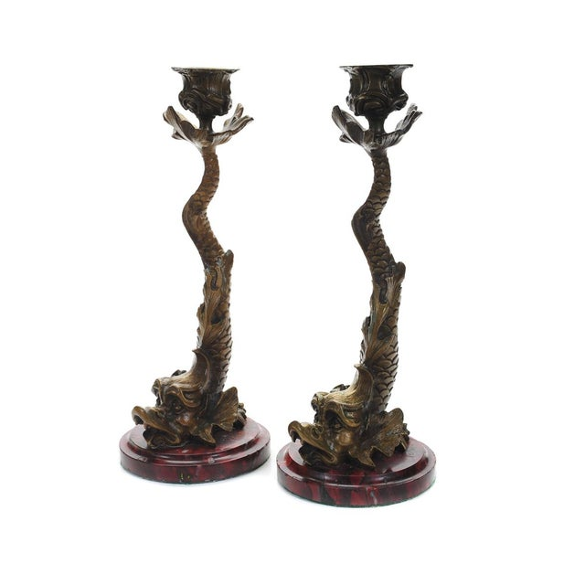 "Antique Bronze Dolphin 10"" Candle Sticks - 2 - Image 2 of 9"