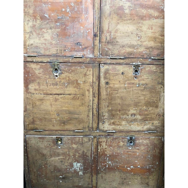 Brown 1880s English Pigeon Hole Cabinet With Drop-Down Doors For Sale - Image 8 of 9