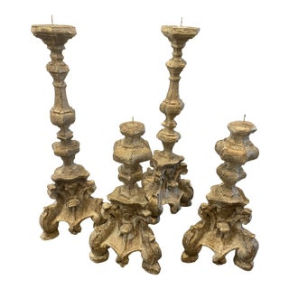 Mid 20th Century Rococo Italian Large Candleholders - Set of 4 For Sale