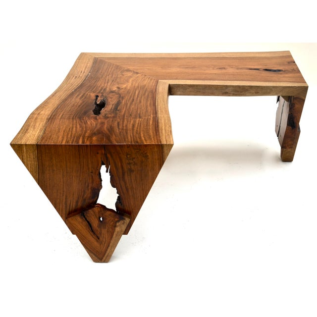 This unique live edge low console table makes for an impressive statement in any setting with beautiful wood finish,...