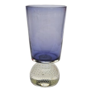 Original Carl Erickson Purple and Clear Art Glass Vase With Inclusions For Sale