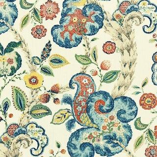 Scalamandre Cumbria Hand Block Print Fabric, Multi on Cream For Sale