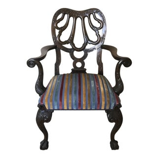 Vintage Mid Century Chippendale Style Hand Carved Arm Chair For Sale