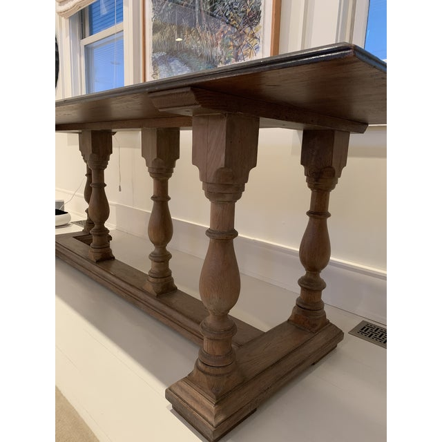 Oak multi purpose table could be used as a desk, sofa table , dining table or console. Features a center carved Monrovia...