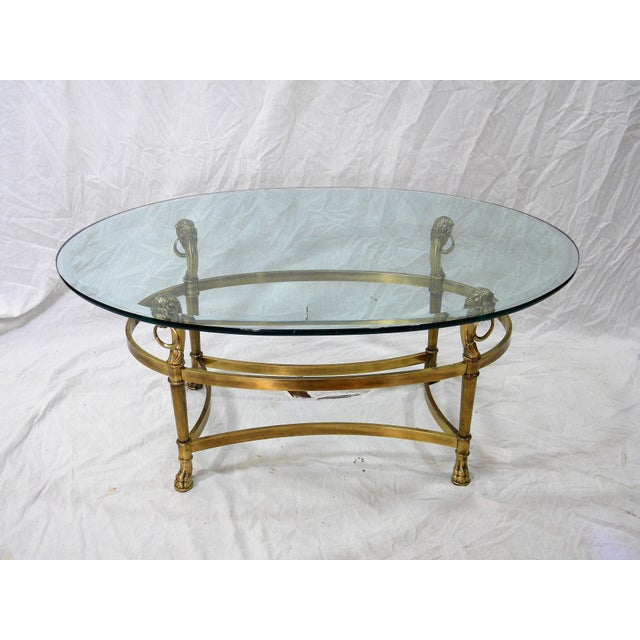 Empire Vintage Brass Lion Head Cocktail Table For Sale - Image 3 of 7