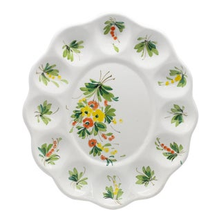 1940s Italian Hand-Painted Majolica Floral Egg Plate For Sale