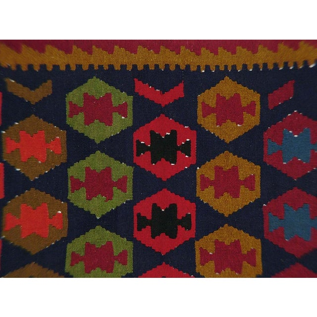 Vintage Afghan Kilim featuring a beautiful geometric design. 100% wool, handmade, all natural dyes. Excellent condition,...
