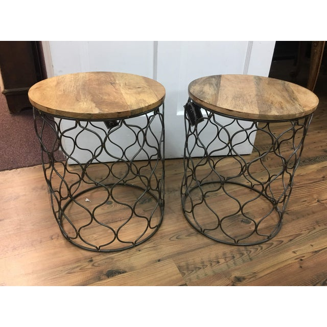 Iron Arabesco Side Table with Mango Wood Top For Sale - Image 10 of 12