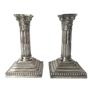 Antique Silver Corinthian Column Candlesticks-Meriden Britannia-A Pair For Sale
