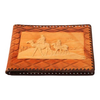Vintage Moroccan Photo Album with Camel Desert Embossed For Sale