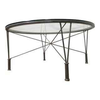 Unusual Metal Table w/ Glass Top For Sale