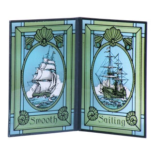 Mid Century Nautical Tall Ships Faux Stained Glass Diptych Artwork For Sale