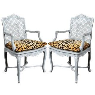 French Regency Style Painted Chair with Animal Print Cushions - A Pair For Sale