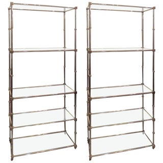 Pair of Chrome Etageres/Bookcases with Glass Shelves For Sale