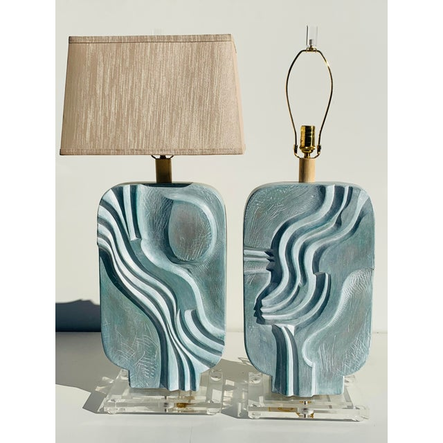 "Pair of brutalist style plaster lamps on acrylic bases. Shades shown are 16""wide, 10""deep, 10""high and not included...."