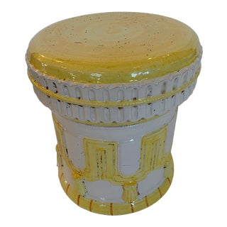 Yellow and White Italian Garden Seat Accent Table For Sale