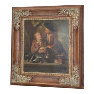 19th Century Oil Painting Young Peasants With Duck