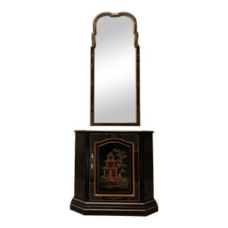 Vintage Black Lacquer Chinoiserie Console & Mirror For Sale