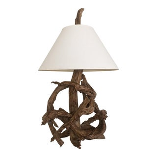 Vintage Mid-Century Natural Driftwood Lamp For Sale