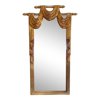 Harrison & Gil Dauphine Wood Carved Gilded Swag Floor Mirror For Sale