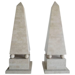 Lagre Maitland Smith Modenist Stone Obelisks - a Pair For Sale