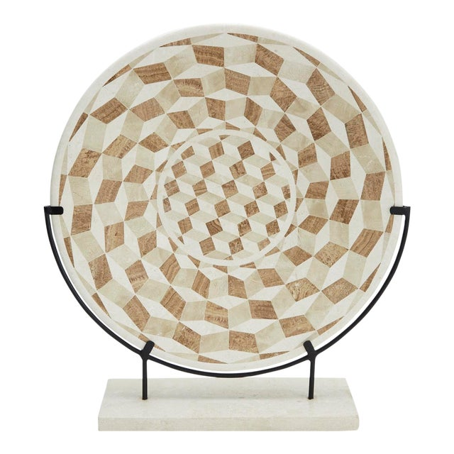 """1990s Modern Tessellated Woodstone """"Illusion"""" Plate on Iron Stand For Sale"""