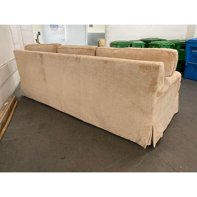 2010s Belmar Custom Upholstery Rolled Arm Cream Velvet Sofa For Sale - Image 5 of 13