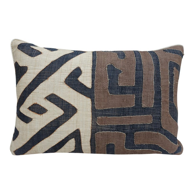 Wheat, Brown & Black African Cloth Kuba Pillow - Image 1 of 4