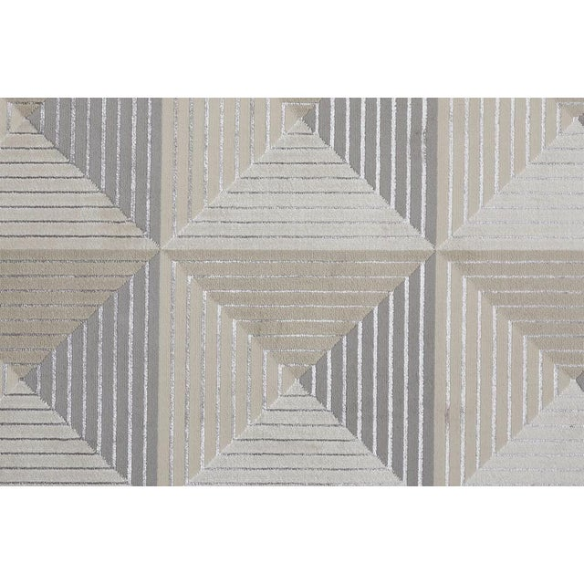 2020s Micah Architectural Inspired Rug, Silver/Bone, 2ft - 10in x 7ft - 10in, Runner For Sale - Image 5 of 7