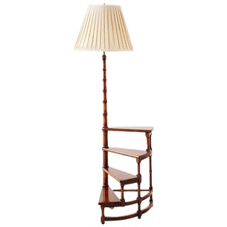 Vintage Mid Century Faux Bamboo Library Step Display Lamp Table For Sale