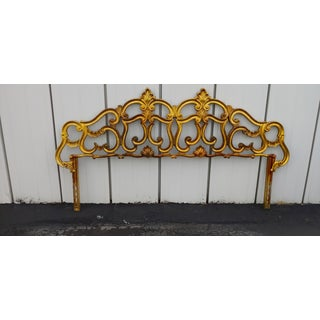 Hollywood Regency Gold Gilt Brass Metal Rococo Style Headboard Preview