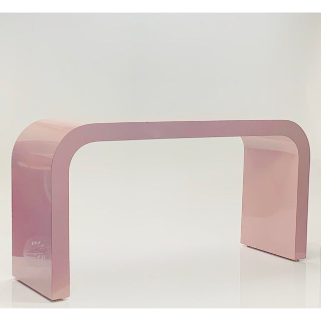 Mauve 1980s Postmodern Light Mauve Waterfall Console Table For Sale - Image 8 of 8