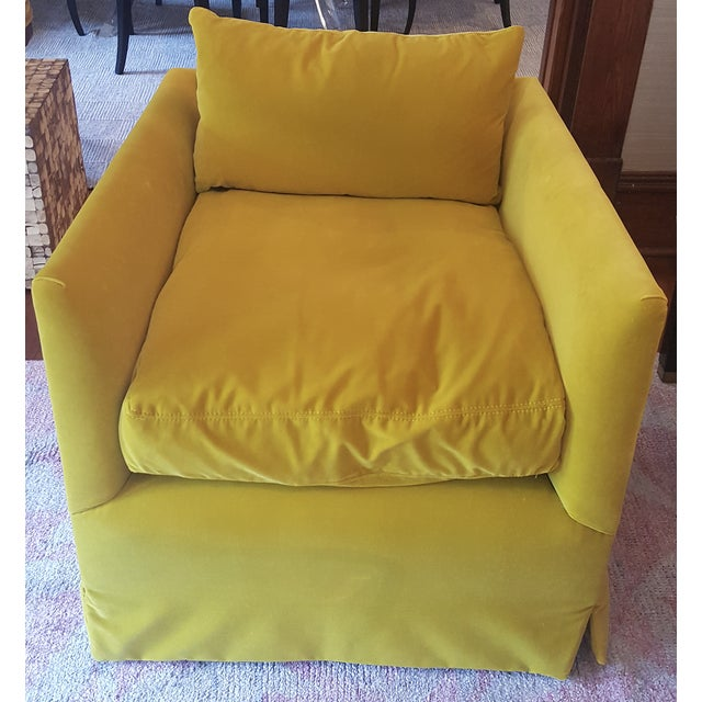 Yellow velvet closed back club chair by Lee Industries. Down seat cushion and fully upholstered. 1 available.