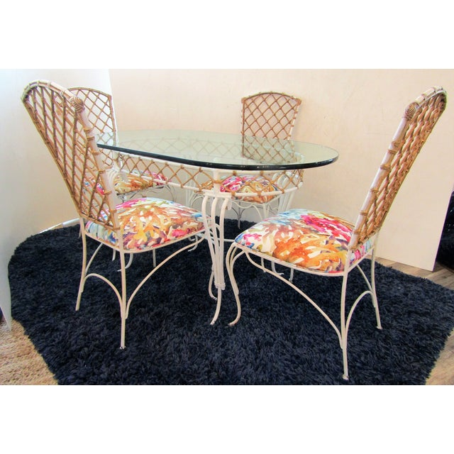 20th Century Boho Chic Iron & Rattan Dining Set - 5 Pieces For Sale - Image 10 of 10