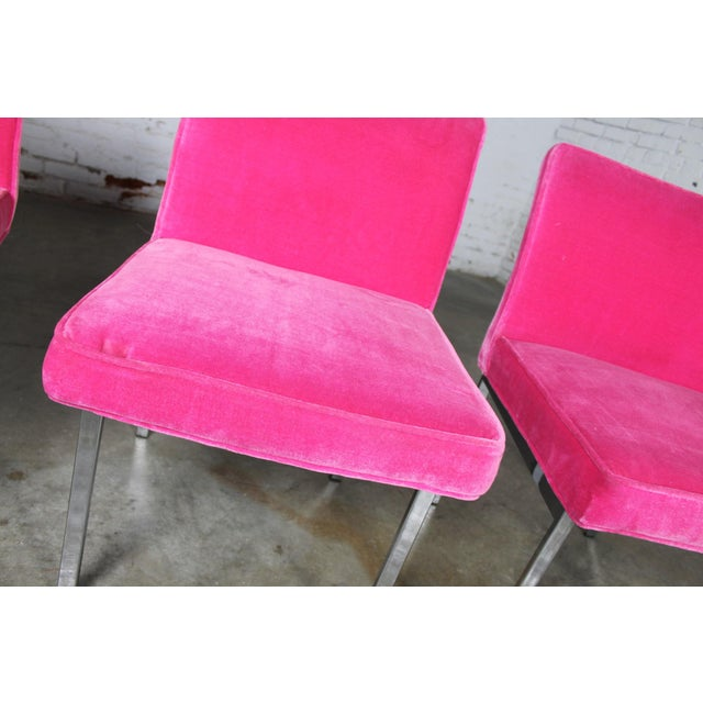 Vintage American of Martinsville Mid Century Modern Hot Pink & Chrome Dining Chairs - Set of 4 For Sale - Image 9 of 11
