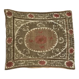Oversized Vintage Suzani Beige, Brown and Pink Embroidered Floor / Pet Pillow