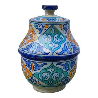 Blue & Orange Moorish Ceramic Box For Sale