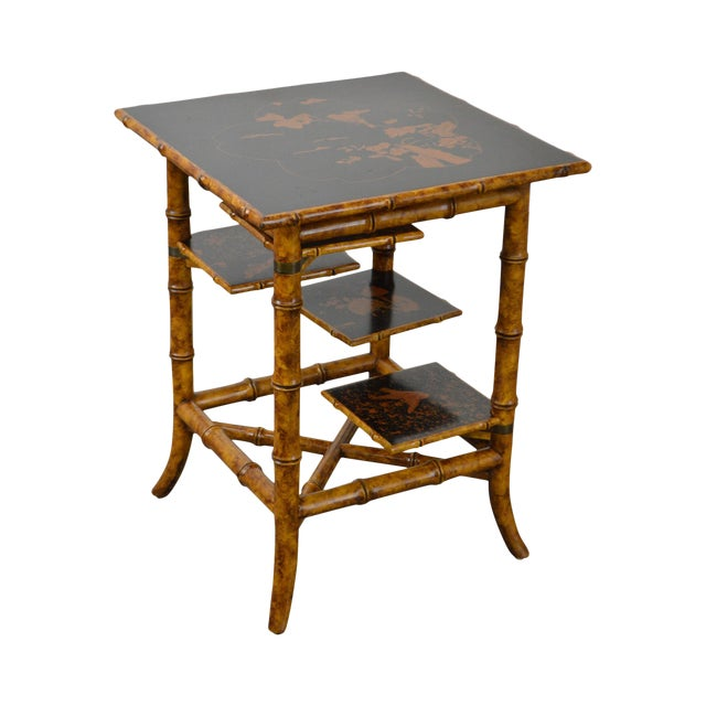 Maitland Smith Faux Bamboo Square Tiered Side Table For Sale