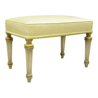 Vintage French Louis XVI Directoire Style Yellow & Cream Upholstered Bench